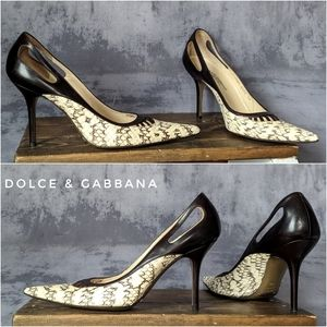 Dolce & Gabbana Snake & Strapped pointed heels